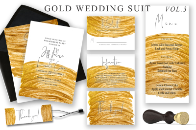 Gold Wedding Cards Suit Vol.3