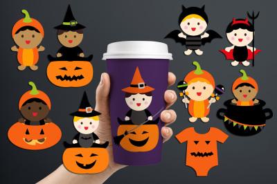 Babies in Halloween costumes, Multiracial babies graphics