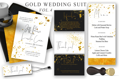 Gold Wedding Cards Suit Vol.4