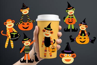 Sock monkeys Halloween graphics and illustrations