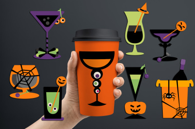 Cocktail glasses drinks, Halloween graphics and illustrations