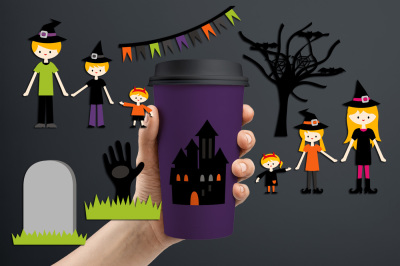 Halloween family clip art graphics and illustrations