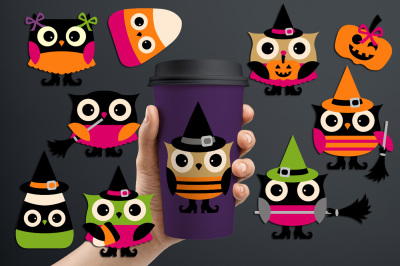Cool Cute Halloween Owls Graphics and Illustrations