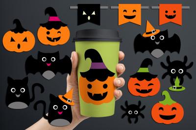 Halloween ornaments (bat, spider, black cat, jack o' lantern)