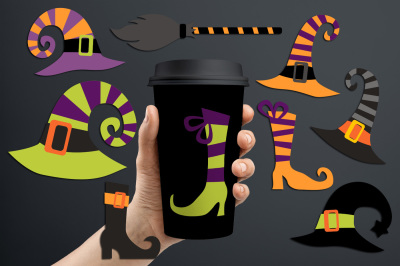 Witch hats and boots, Halloween graphis and illustrations