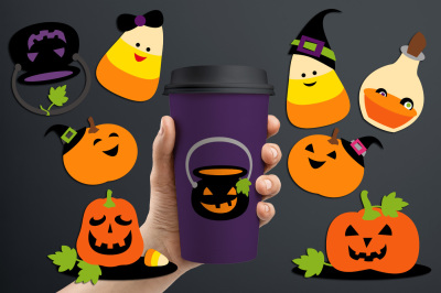 Halloween Treat (candy corn, jack o lantern) graphics