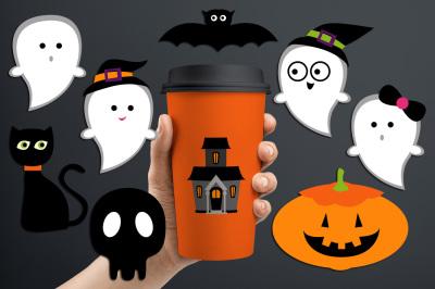 Halloween night (cute ghost, black cat, bat, skull, haunted house)