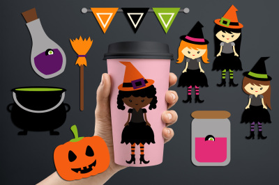 Halloween witches night (little girl witch, poison bottles, broom)
