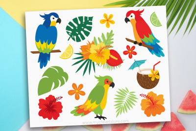 Tropical Parrots Clipart, Summer Clipart, Vector, Sublimation, SVG