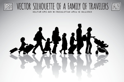 Vector  silhouette  of  a  family  of  travelers