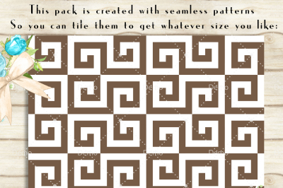 100 Seamless White Greek Key Pattern Digital Papers