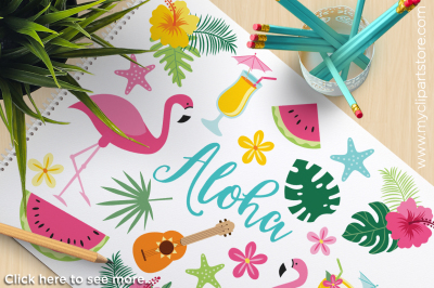 Aloha Flamingo / Tropical Bird Vector Clipart