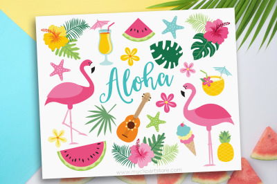 Flamingo Clipart, Tropical, Beach, Summer, Vector, Sublimation, SVG