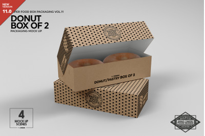 Box of Two Donut Pastry Box Mockup