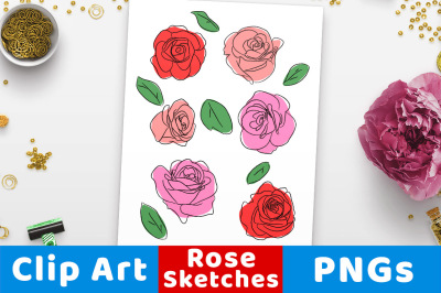 Rose Clipart, Hand Drawn Rose Sketch Clip Art, Floral Clipart