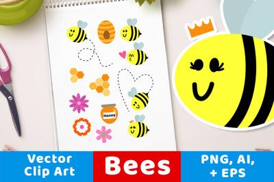 Bee Clipart, Bug Clipart, Summer Clipart, Queen Bee Graphics