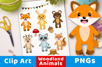 Woodland Animals Clipart, Forest Animal Clipart, Cute Nursery Animals