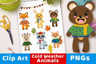 Fall Animal Clipart, Autumn Animals, Animals Wearing Scarves + Coats