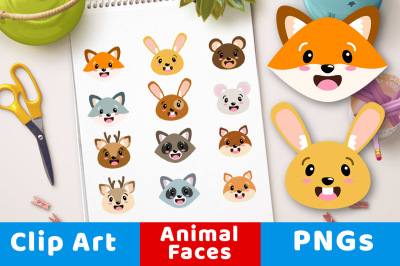 Cute Animal Faces Clipart, Forest Animal Heads, Woodland Animals