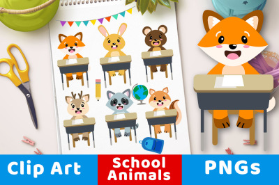 Back to School Animals Clipart, Forest Animal Students, Woodland