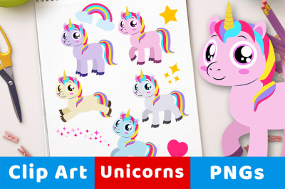 Unicorn Clipart, Cute Unicorn Graphics, Flying Unicorn, Rainbow
