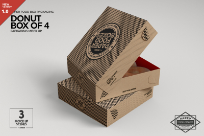 Box of Four Donut Pastry Box  Mockup