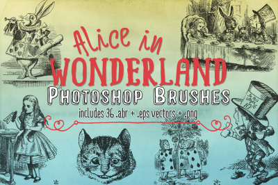Alice in Wonderland Photoshop Brushes & eps Vector Clipart