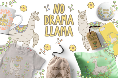 Llama and flowers clipart set. Floral digital stamps. No drama llama