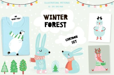 Winter forest cartoon set