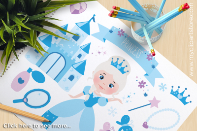 Frozen Snow Princess Vector Clipart