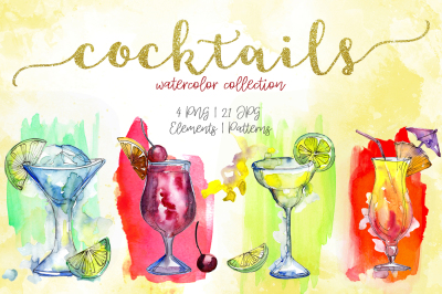 Cocktails watercolor collection PNG set