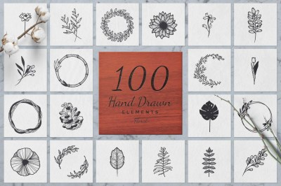 100 Hand Drawn Elements -Floral-