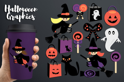 Halloween graphics, Flying witch broom
