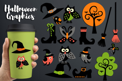 Halloween graphics - Owls, Witch hat, Boots, Broom