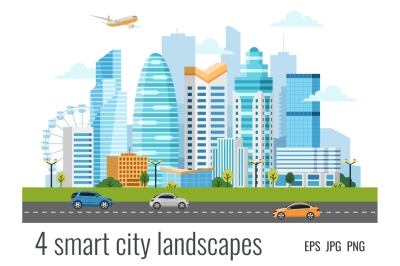 4 urban smart city landscapes with skyscrapers