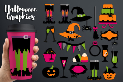 Halloween Party Clipart Graphics (witch legs, hats, sweets)