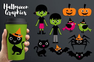 Halloween Friends Clipart Graphics (kids, black cats, bats, pumpkins)