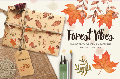 Forest Vibes. Watercolor Set: 20 items & 6 patterns