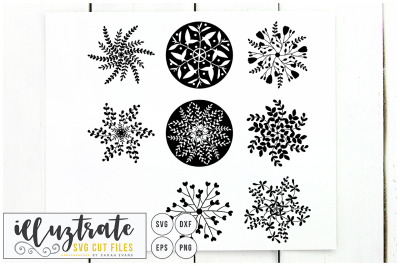 Snowflake SVG Cut File - Snow flake cutting file - dxf