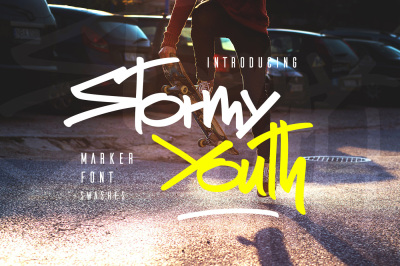 Stormy Youth Font + Swashes