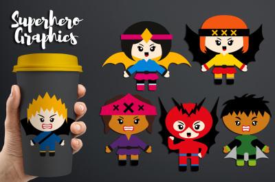 Superhero Villains Clipart Graphics (angry kids)