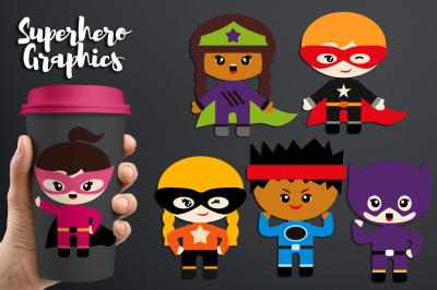 Fearless Superhero Clipart, Kids Graphics