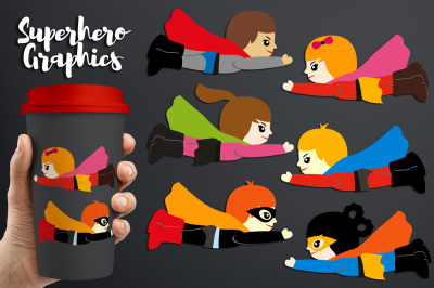 Cute Flying Superhero Illustrations Graphic