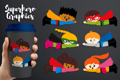 Flying Superheroes with face emotions graphics