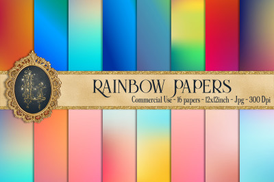 16 Rainbow Gradient Texture Digital Papers&2C; Fairy Tale Paper