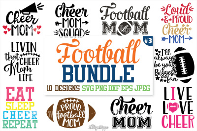 Football SVG Bundle, Football Mom Bundle, SVG, PNG, Cut Files, Cricut