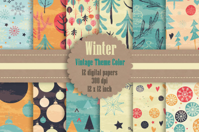 12 Winter Holiday Digital Papers in Vintage Theme Color