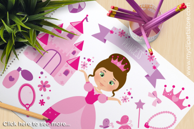 Pink Flower Princess Vector Clipart