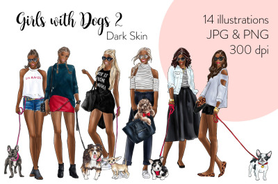 Watercolor Fashion Clipart - Girls with Dogs 2 - Dark Skin