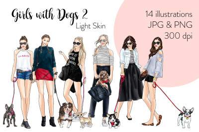 Watercolor Fashion Clipart - Girls with Dogs 2 - Light Skin